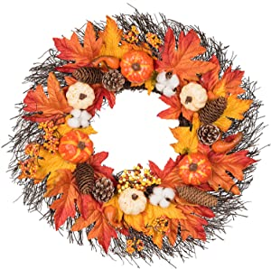 "Lvydec Maple Leaves Fall Wreath - 20"" Autumn Door Wreath with Pumpkin, Pinecone, Cotton Boll, Berries, Harvest Wreath for Fall and Thanksgiving Decoration"