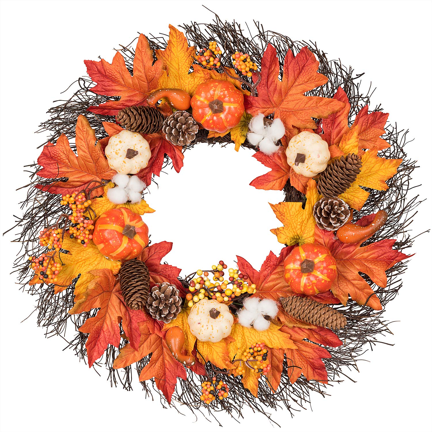 Lvydec Maple Leaves Fall Wreath - 20'' Autumn Door Wreath with Pumpkin, Pinecone, Cotton Boll, Berries, Harvest Wreath for Fall and Thanksgiving Decoration by Lvydec