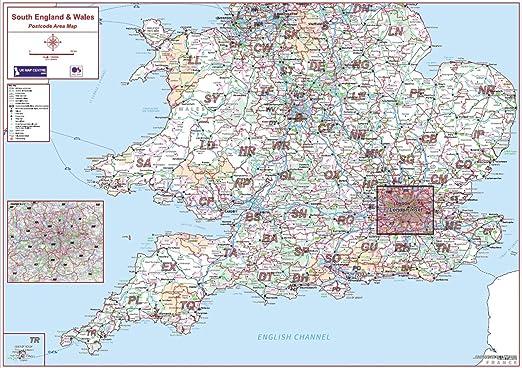 Código postal mapa de la zona 4 – sur de Inglaterra y Gales – Color – estándar papel mate: Amazon.es: Oficina y papelería