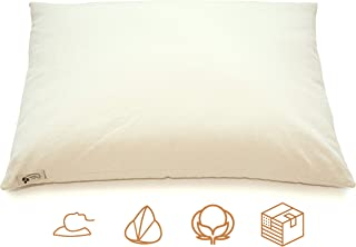 """product image for ComfyComfy Premium Buckwheat Pillow, Standard Size (20"""" x 26""""), Comes with Extra 2 lb of USA Grown Buckwheat Hulls to Customize for Comfort, and Custom Percale Cotton Pillowcase"""
