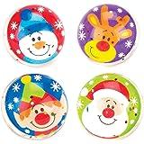 Baker Ross Pelotas de Goma de Personajes navideños con Purpurina (Paquete de 8) Juguetes
