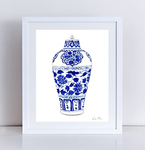 amazon com blue and white china print ginger jar art 1 chinoiserie