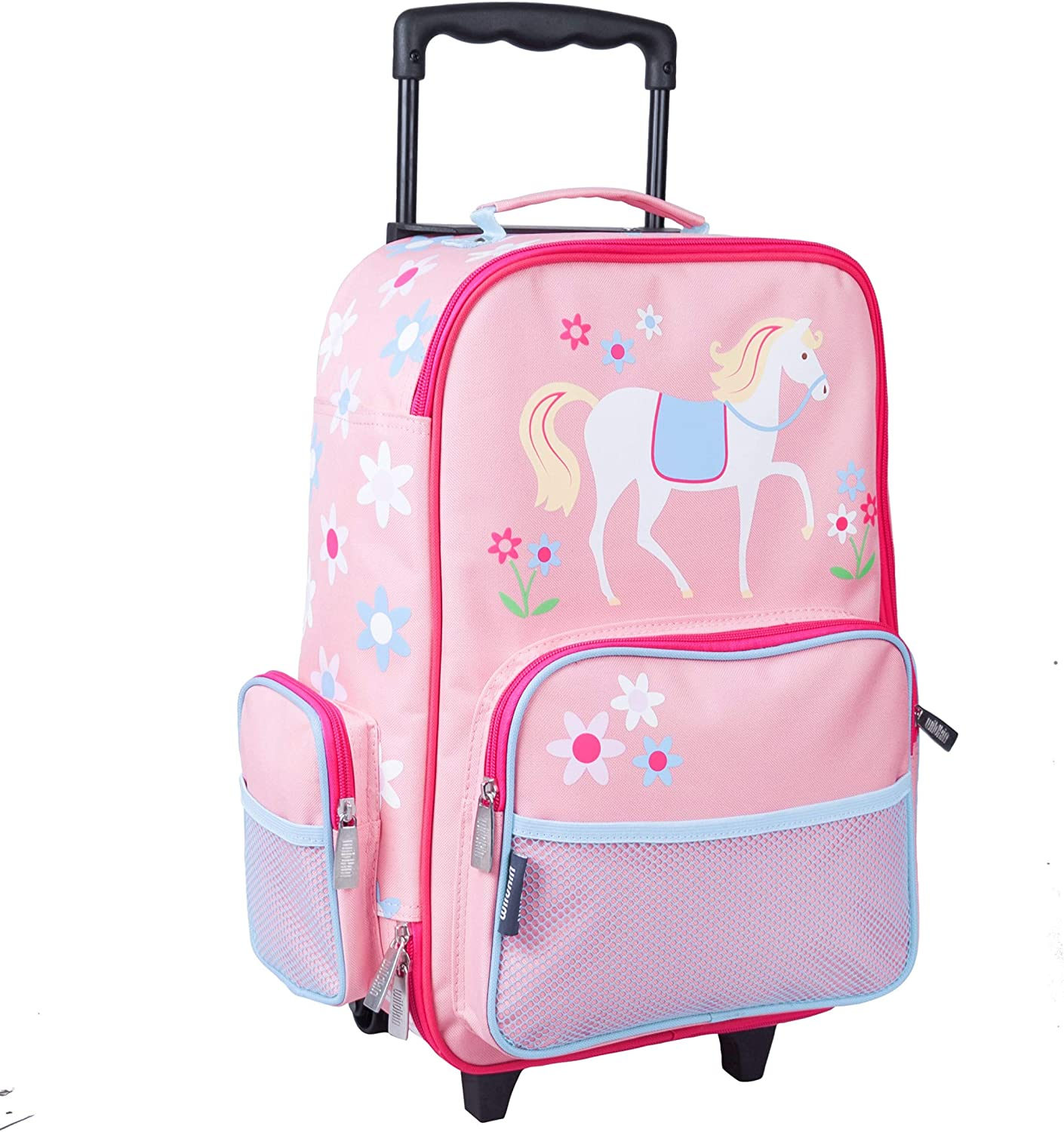 Wildkin Kids Rolling Suitcase for Boys and Girls, Kids Luggage is Carry-On Size and Perfect for School and Overnight Travel, Measures 16 x 11.5 x 6 Inches, BPA-free, Olive Kids (Horses)