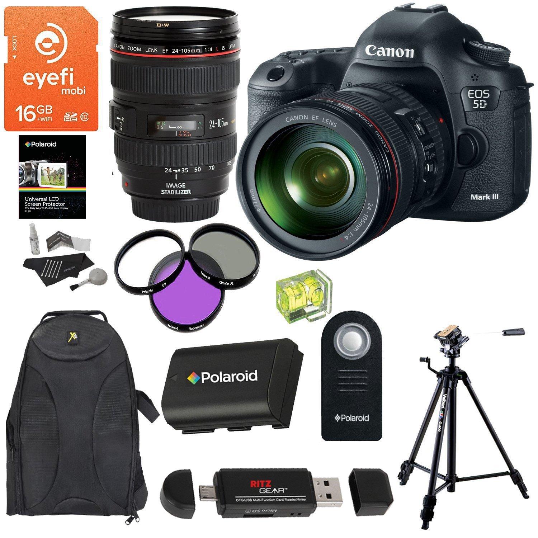Canon EOS 5D Mark III 22.3 MP CMOS 1080p Full HD Camera Kit EF 24-105mm f/4 L IS USM Lens Eyefi Mobi 16GB Card Velbon Tripod Battery Accessory Bundle