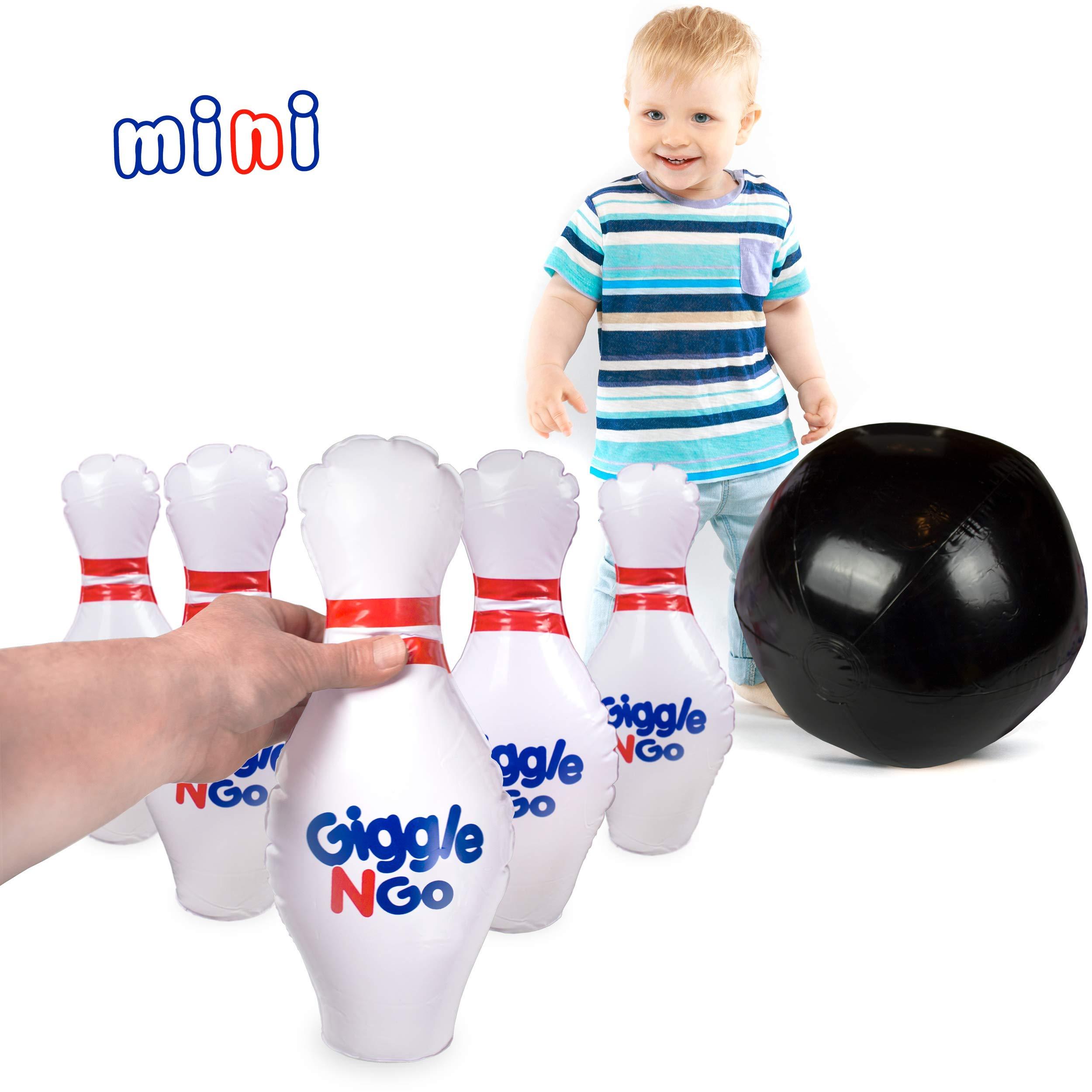 GIGGLE N GO Toddler Mini Bowling Set - Toddler Games Like Our Inflatable Bowling Game are a Safe Option as Toddler Toys for Boys and Girls Aged 2 and Above - Easy 2 Minute Set-Up by GIGGLE N GO