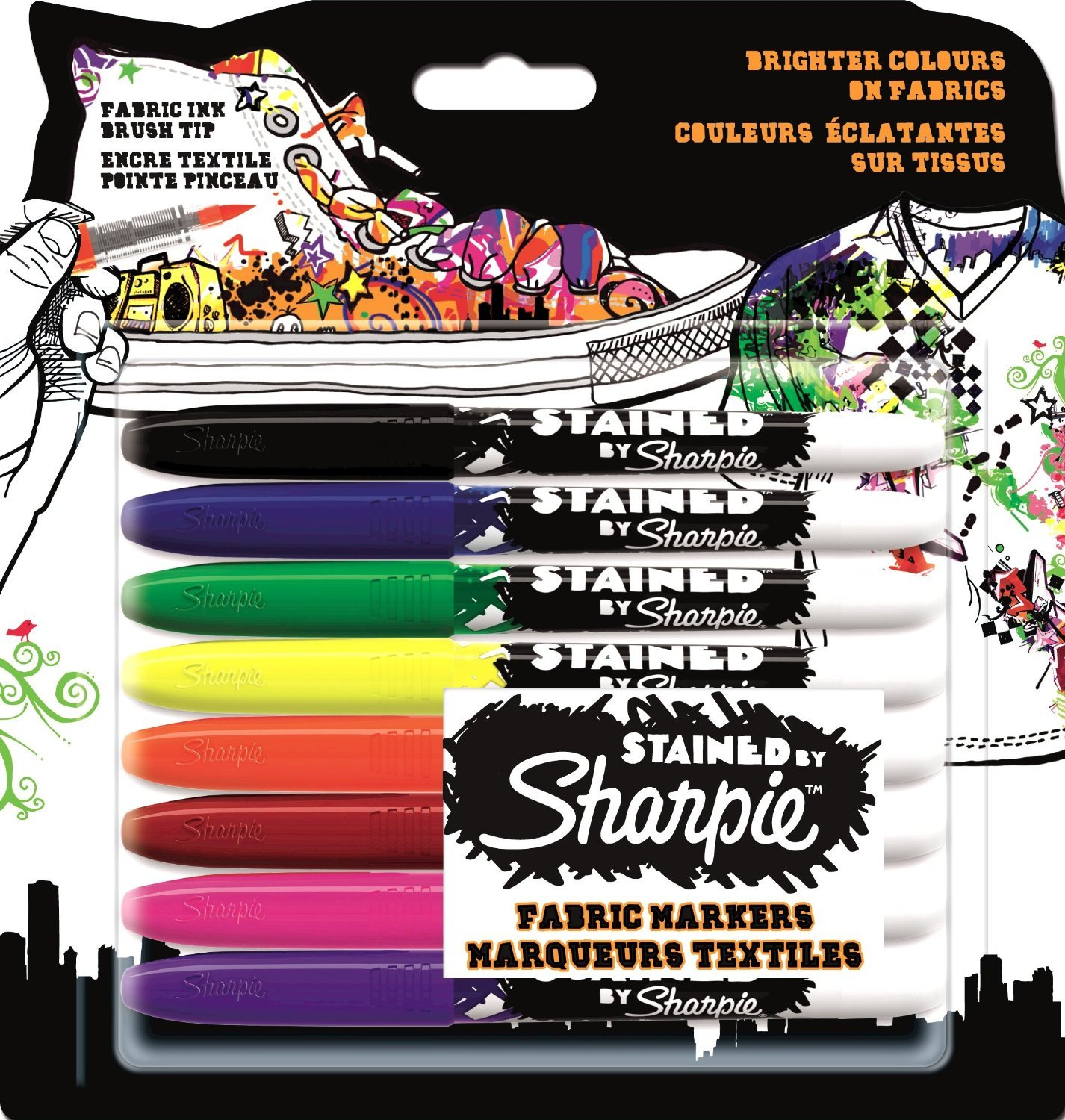 sharpie stained fabric marker assorted colours pack of 8 amazon