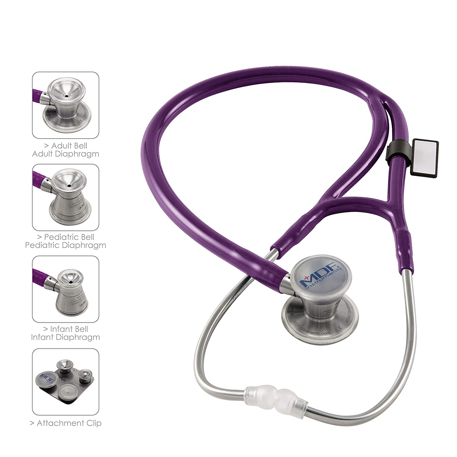 MDF ProCardial C3 Cardiology Lightweight Titanium Dual Head Stethoscope with Adult, Pediatric, and Infant-Neonatal Convertible Chestpiece -Free-Parts-for-Life Lifetime Warranty-Purple Rain MDF797CCT