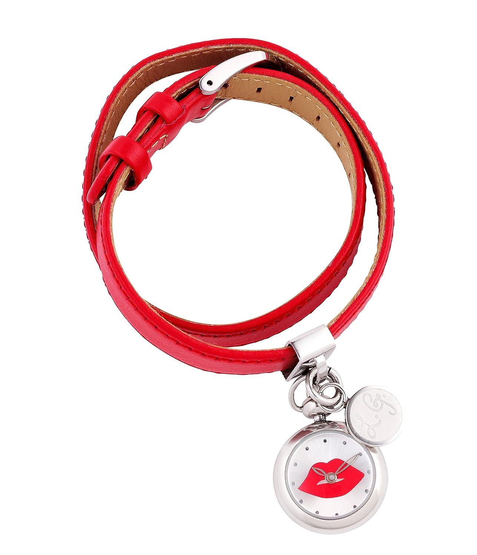 Lulu Guinness 0.95.0369 Damen Armbanduhr Quarzuhr mit Silberfarbenem Zifferblatt Analog-Anzeige und rotem Lederband