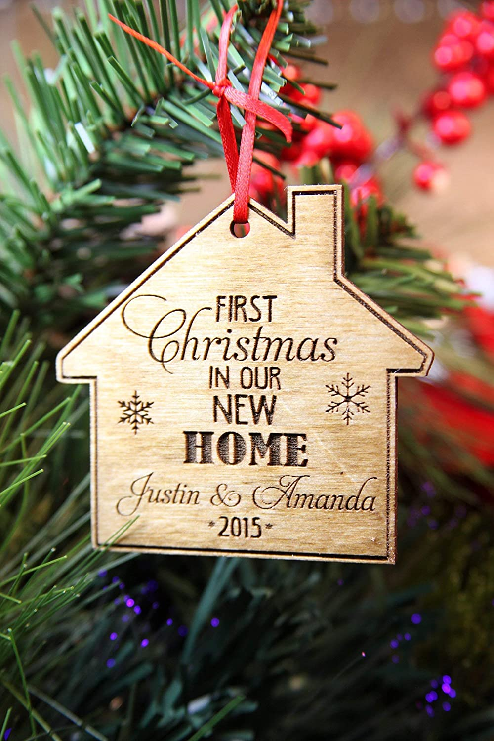 Christmas Ornaments With Names On Them.First Home Names Personalized Christmas Ornament