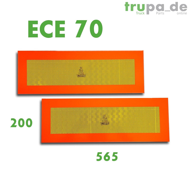 2 x Heckmarkierung 565 x 200 ECE 70 Warntafel Folie Reflektor Anhä nger Auflieger Trupa