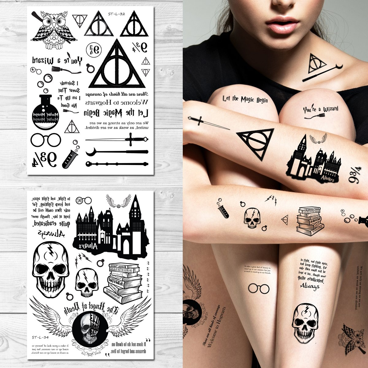 Amazon.com : Supperb Temporary Tattoos - Let the Magic Begin Wizard ...