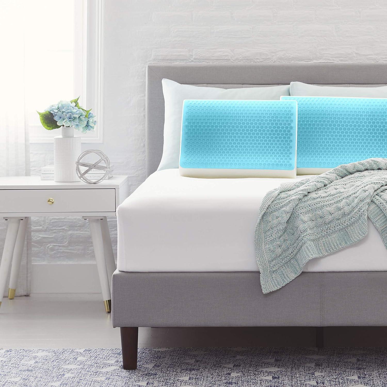 Comfort Revolution Blue Bubble Gel + Memory Foam Pillow, Contour, White