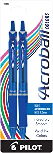 Pilot Acroball Colors Retractable Advanced Ink Ball Point Pens; Medium Point, Blue, 2-Pack (31831) Ultra-Smooth Writing, Smear-Resistant Advanced Ink for Skip-Free Lines