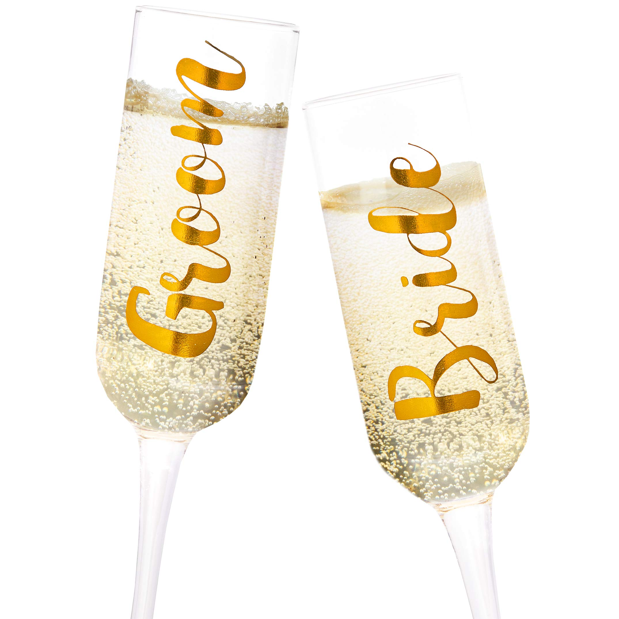 Juvale 2-Pack Gold Glass Groom and Bride Champagne Wedding Flutes, 8 Ounces