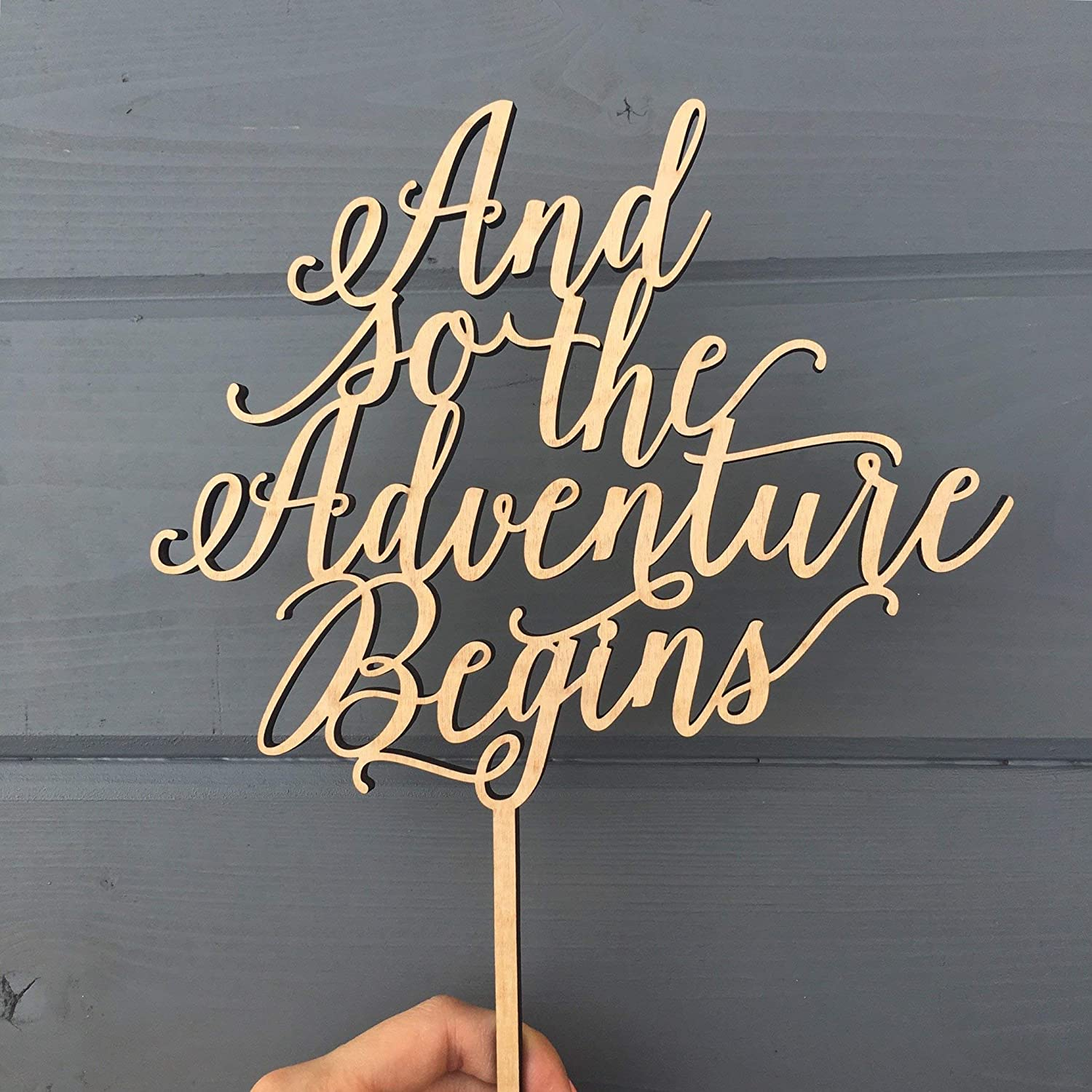 And so the Adventure Begins Cake Topper, 8' inches wide, Unique Wood Wedding Cake Topper by Ngo Creations 8 inches wide
