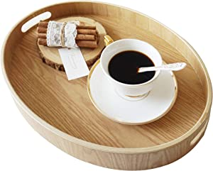 "Nonslip Wood Serving Tray with Handles for Serving Food and Drinks. 16"" Oval Round Anti-slip Food Serving Tray with Cut-out Handle. Natural Wood Nonslip Food Round Tray (16"" Oval Round)"