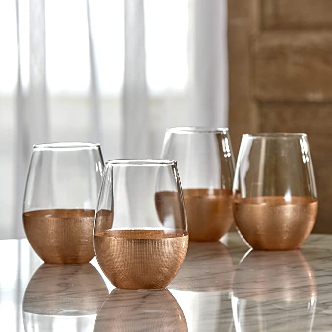 fe88622a17c Fitz and Floyd 229474-4ST Linen Stem less Glasses (Set of 4), Copper