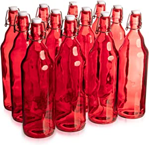 33 oz. Red Glass Grolsch Beer Bottle, Quart Size - Airtight Seal with Swing Top/Flip Top - Supplies for Home Brewing & Fermenting of Alcohol, Kombucha Tea, Wine, Homemade Soda (12-pack)