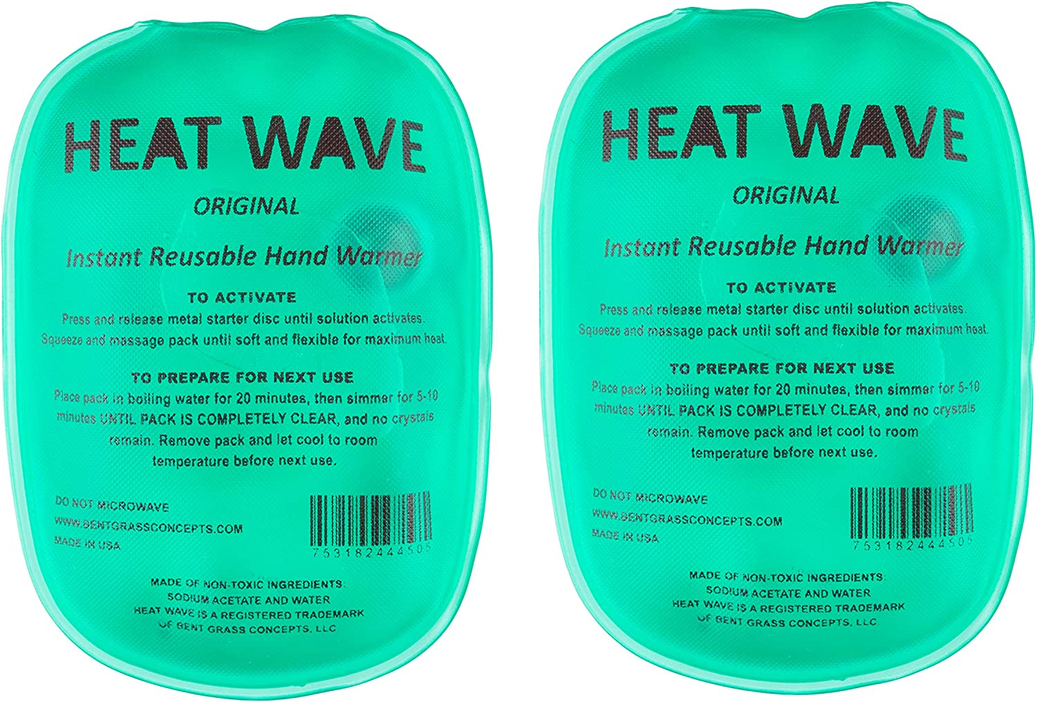 Made in USA: Heat Wave Instant Reusable Hand Warmers - Premium Medical Grade - Click to Heat