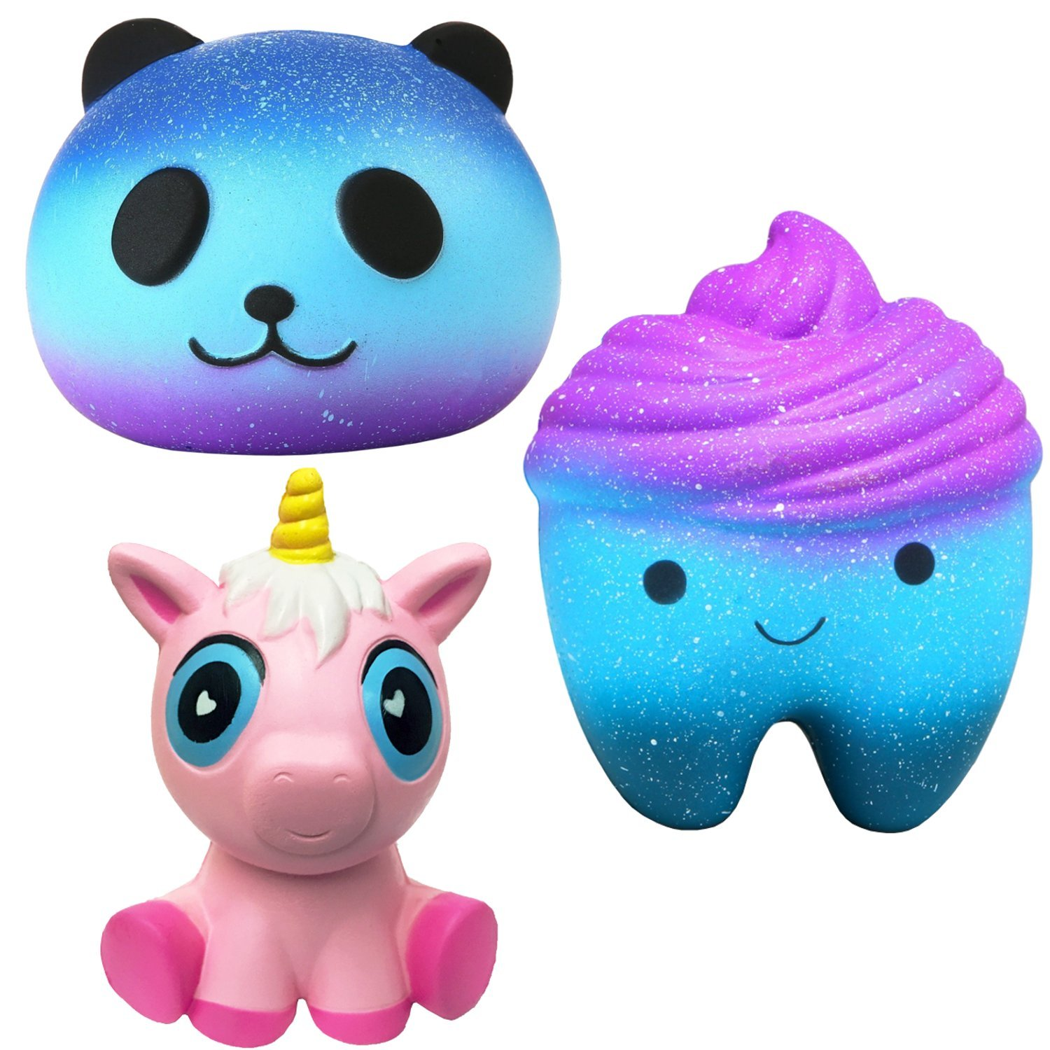 Desire Deluxe Jumbo Squishies Pack Slow Rising UK Scented Squishy Toy Squeeze Toys Stress Reliever Squishy's (Tooth Unicorn Panda Set)