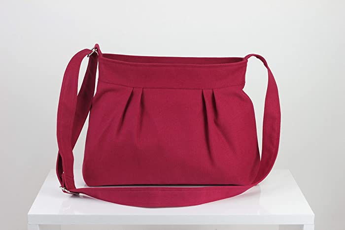 Maroon Bag Small Bag Pleated Zipper Closed Safe Canvas Bag Shoulder bag  Crossbody Bag Women Accessories Handmade Gift For Her Long Strap hippirhino  ... cbf011fa29d38