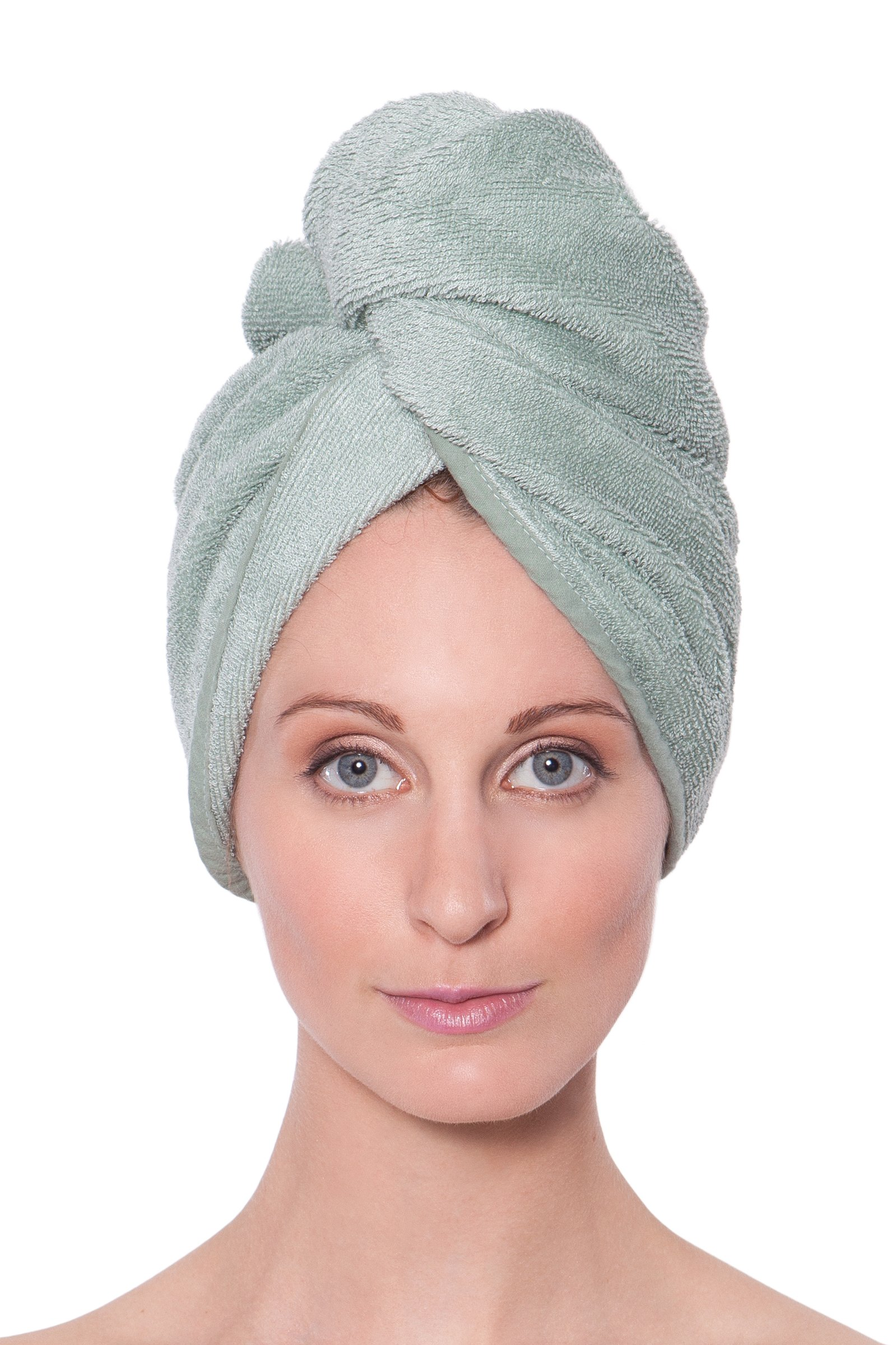 Women's Bamboo Viscose Hair Towel - Hair Drying Towel Wrap by Texere (Lily Green, Unisize) Best Mothers Day Gift AB0101-LGN-U