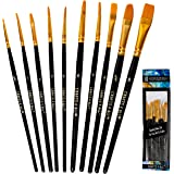 Crafts 4 All Paint Brushes Set 10 Pieces Professional Fine Tip Paint Brush Set Round Pointed Tip Nylon Hair Artist Acrylic Paints Brush for Watercolor Oil Painting (10)