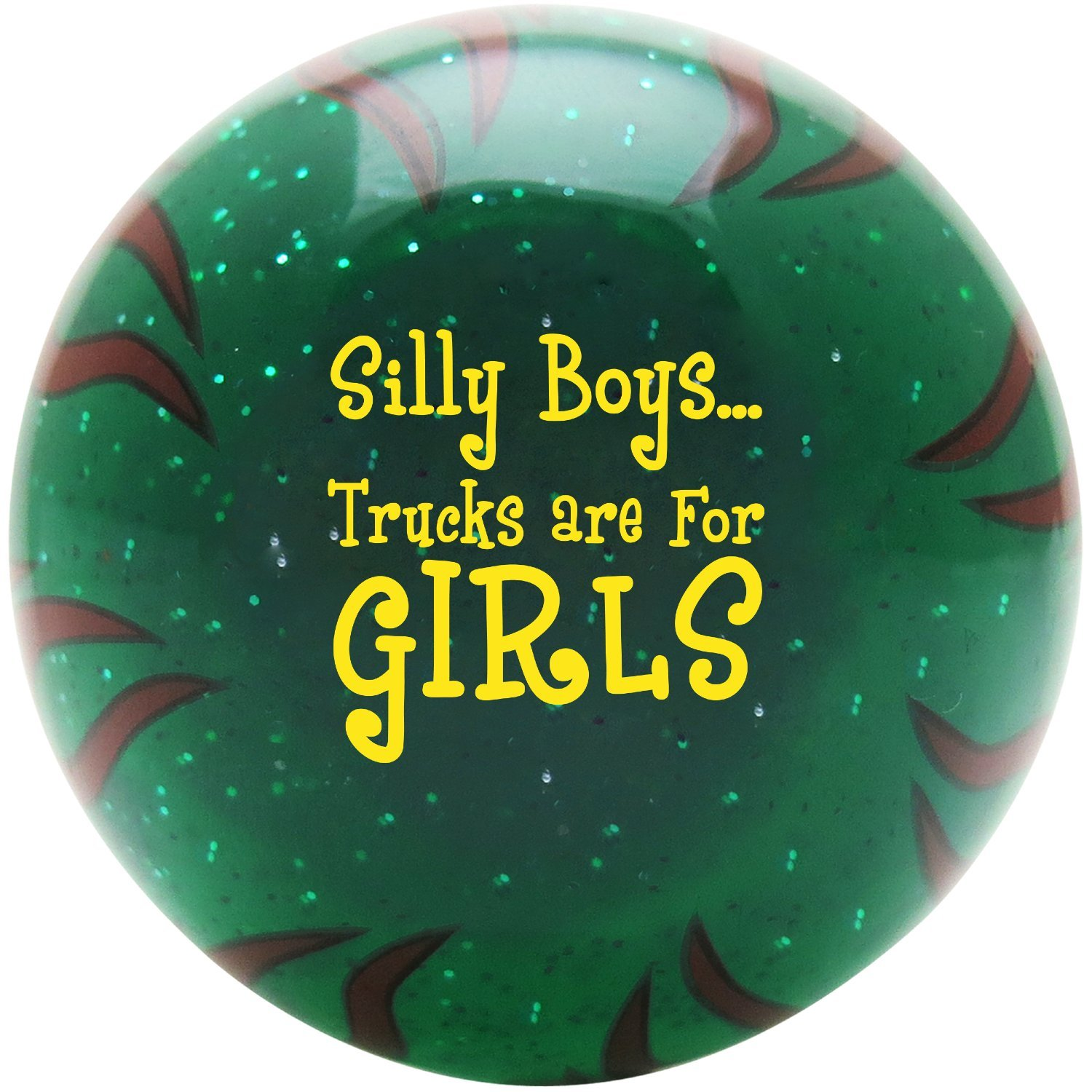 American Shifter 28909 Green Flame Metal Flake Shift Knob Yellow Silly Boys.Trucks are for Girls