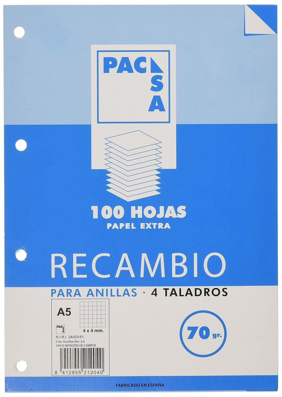 Pacsa 21201/21204 - Recambio 70 g, A5, 4 anillas cuadriculadas