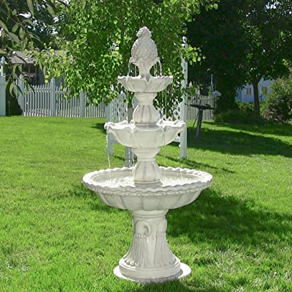 Sunnydaze Welcome 3-Tier Garden Fountain, Large Outdoor Patio Water  Feature, 59 Inch Tall
