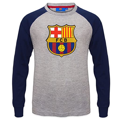 af026426c88 Image Unavailable. Image not available for. Color  FC Barcelona Official  Gift Kids Crest Long Sleeve T-Shirt Grey 6-7 Years