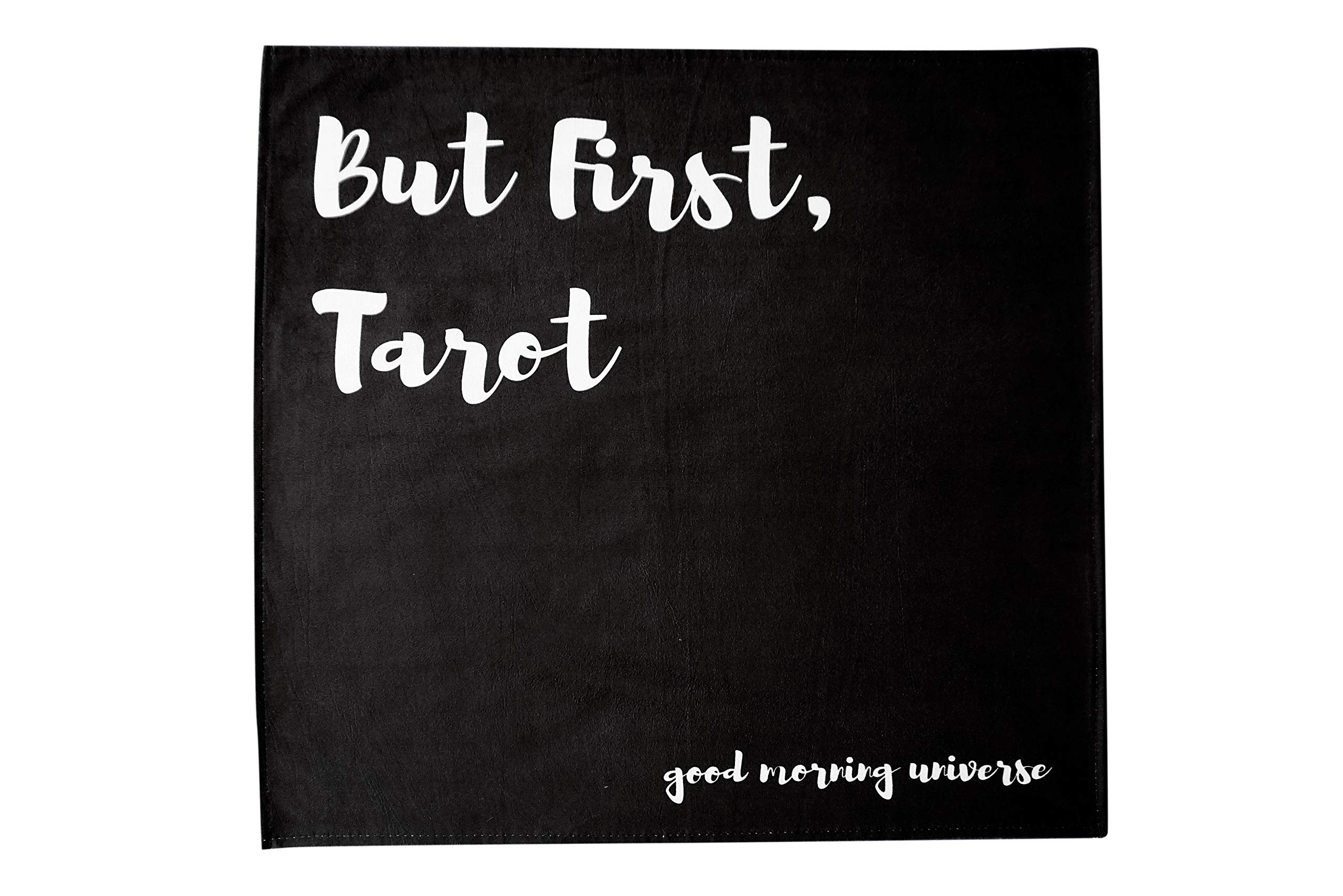 Altar Tarot Cloth with Good Morning Universe (Large, Black, 24 inches x 24 inches) by Hidden Crystal Tarot (Image #1)