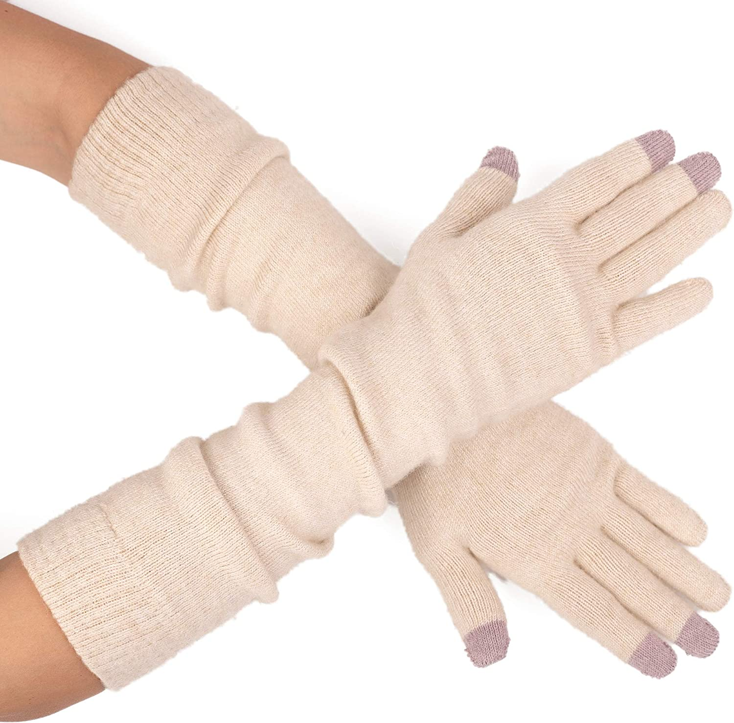 Flammi Womens Touch Screen Long Gloves Cashmere Blend Knit Arm Warmers Gloves with Fingers