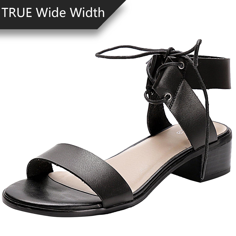 Luoika Women's Wide Width Heeled Sandals - Comfortable Open Toe Ankle Strap Flexible Pump Summer Shoes(180331,Black,10.5WW