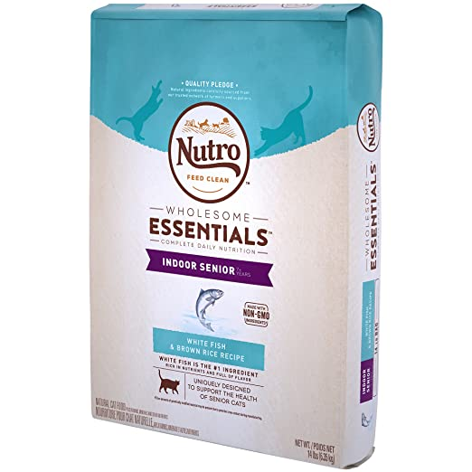 Amazon.com : Nutro Wholesome Essentials Indoor White Fish & Brown Rice Recipe Senior Dry Cat Food 14 Pounds (Discontinued By Manufacturer) : Pet Supplies
