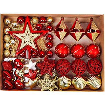 09a9d6efc3f5 Valery Madelyn 70Pcs 3-17cm Luxury Red and Gold Christmas Baubles  Ornaments, Shatterproof Christmas Tree Balls Pendants Decorations:  Amazon.co.uk: Kitchen & ...
