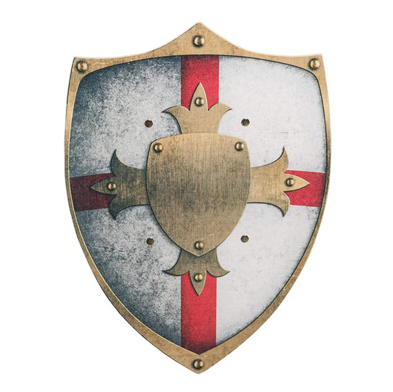 Ritterschild aus Holz, rot-weiß-gold (48x33cm)