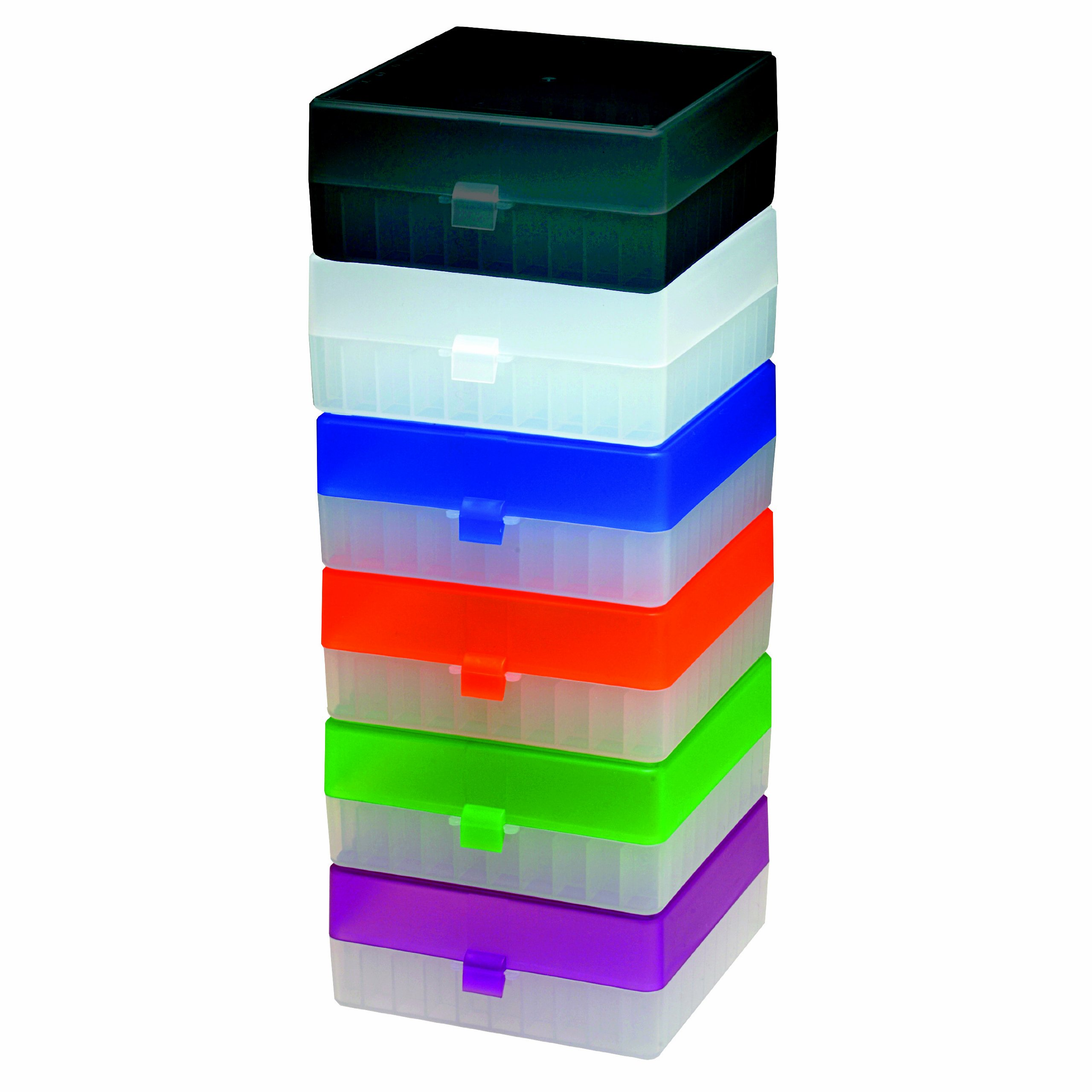 Argos R3130 Translucent Polypropylene 100 Place Microcentrifuge Tube Cryogenic Storage Box with Assorted Color Lids for 0.5, 1.5 and 2.0mL Microcentrifuge Tubes (Pack of 5) by Argos Technologies