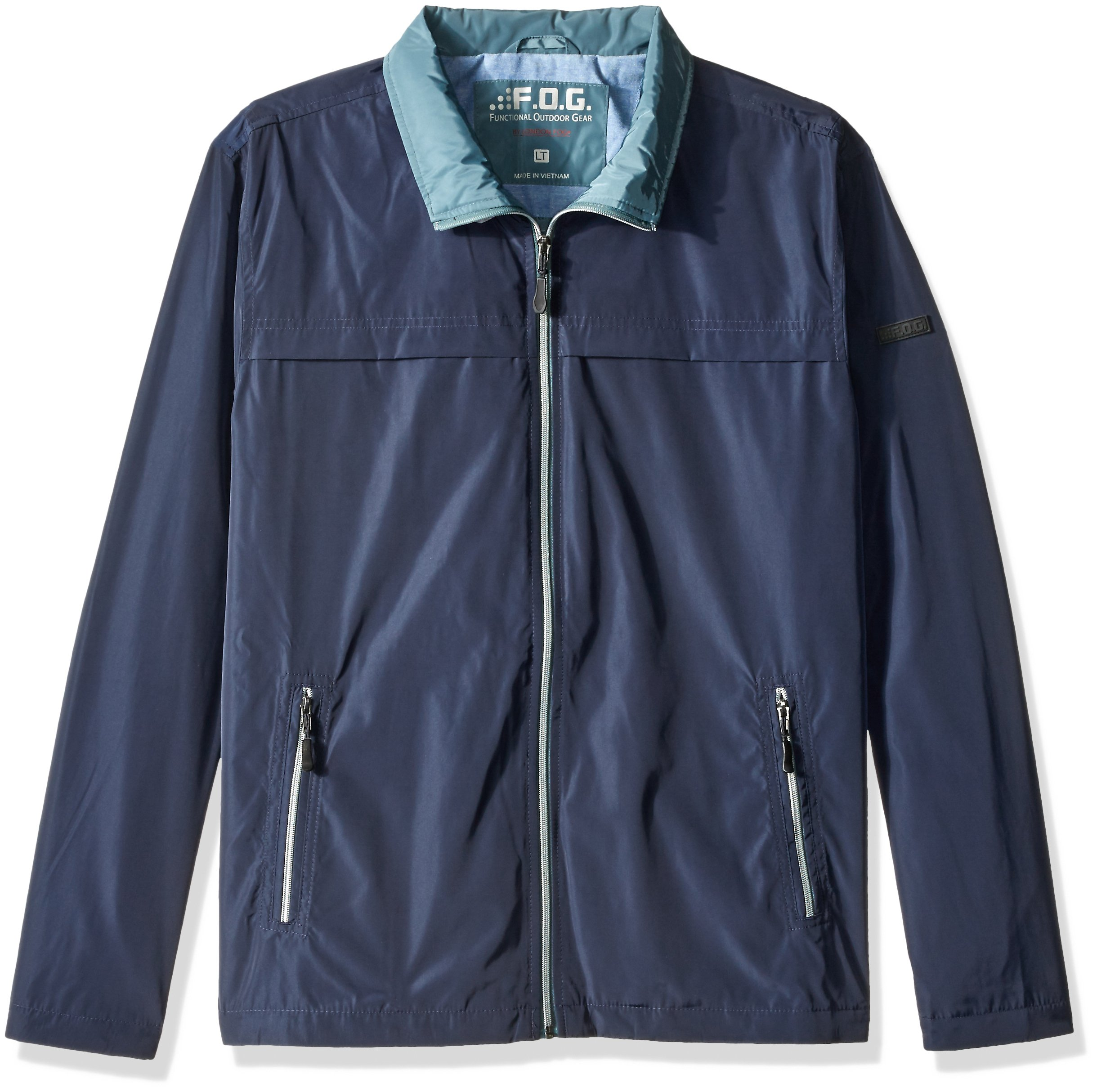 F.O.G. Fog Men's Size Packable Performance Jacket, New Navy/Teal, 2X Tall