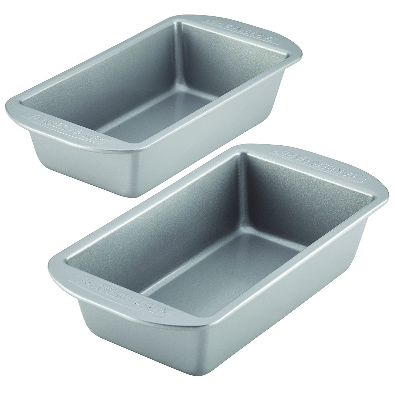 Farberware Nonstick Bakeware Bread and Meat Loaf Pan Set, 2-Piece, Gray 46405