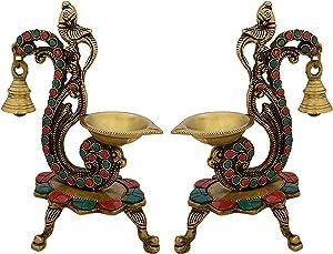 Indian Diwali Oil Lamp Pooja Diya Brass Light Puja Decorations Mandir Decoration Items Handmade Home Backdrop Decor Lamps Made in India Decorative Diyas Gemstone Studded Parrot Bell Vilakku Set of 2