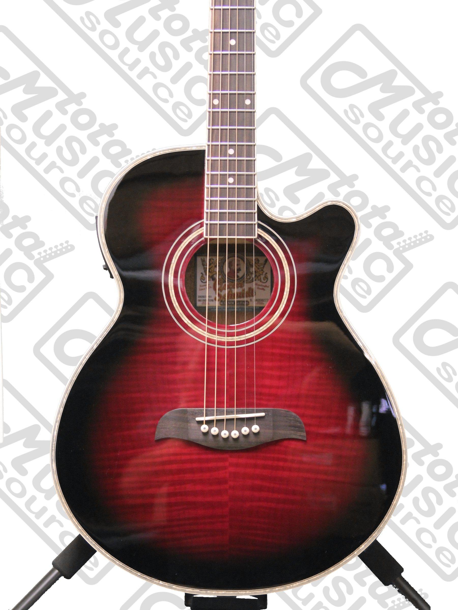 oscar schmidt og10ce cutaway acoustic electric guitar flame transparent purple guitar affinity. Black Bedroom Furniture Sets. Home Design Ideas