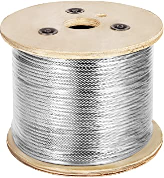 Mophorn Stainless Steel Cable Railing 1 8 X 500ft Wire Rope 316 Marine Grade Braided Aircraft Cable 1x19 Strands Construction For Deck Rail Balusters Stair Handrail Porch Fence Amazon Com