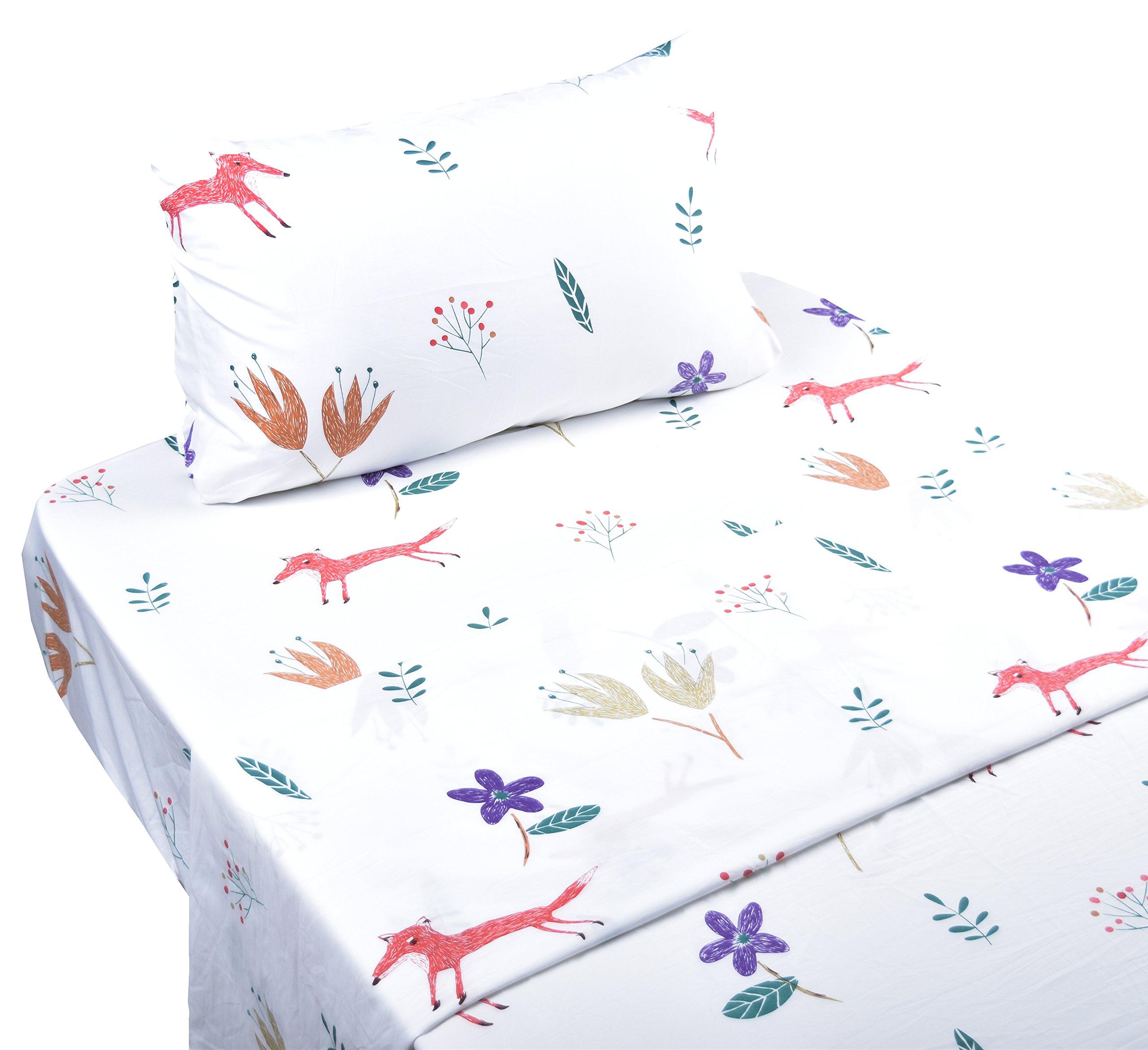 Scientific Sleep Cute Fox & Flowers Soft Sheets Set Twin, 100% Microfiber Polyester Bedding Sheet Set for Girls GIft (5, Twin)