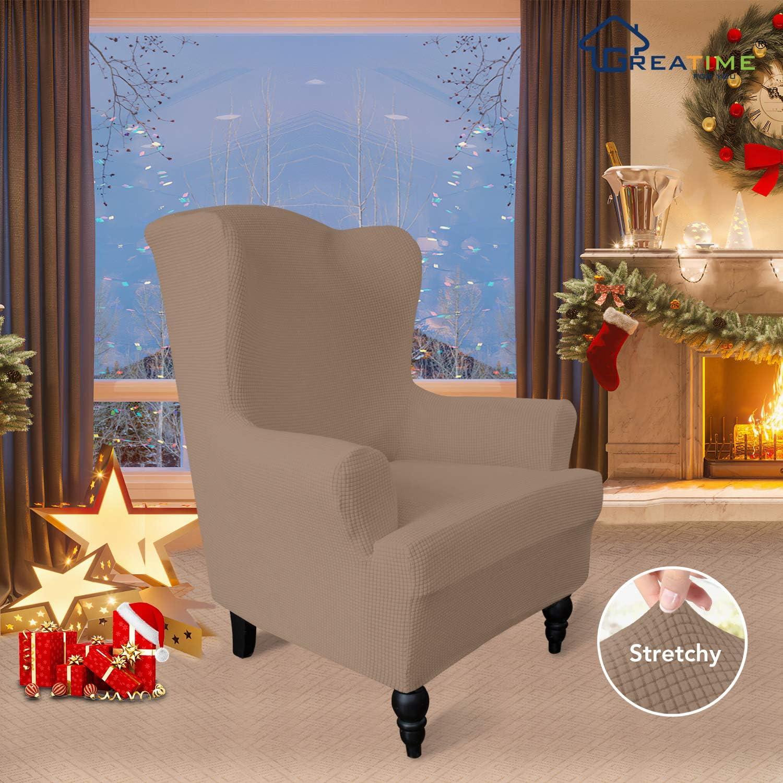 Wing Chair,Grigio Scuro Poliestere Spandex Tessuto Jacquard Quadretti Greatime Stretch Fodera Divano Sofa Cover mobili Protector Divano Scudo Morbido Divano con Fondo Elastico Antiscivolo Schiuma