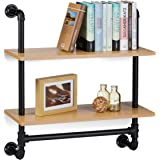 Relaxdays Industrial Wall Shelving Unit, 2 Shelves, Wall-Mount, Bookcase, Wooden, Vintage, Retro Look, HxWxD: 68.5x60x24 cm, Brown
