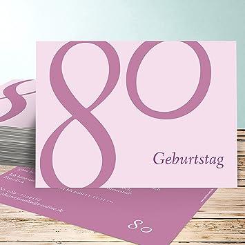 Einladungskarten Geburtstag 80 Vorlagen, Meine Achtzig 5 Karten, Horizontal  Einfach 148x105 Inkl. Weiße