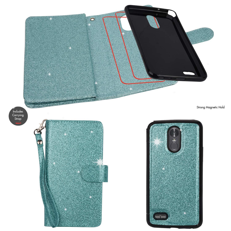 Ymhxcy LG Stylo 3 Wallet Case, LG Stylo 3 Plus Case,LG Stylus 3 Case,PU Leather [9 Card Slots][Detachable][Kickstand] Phone Case & Wrist Lanyard LG LS777-PT Mint by Ymhxcy (Image #3)