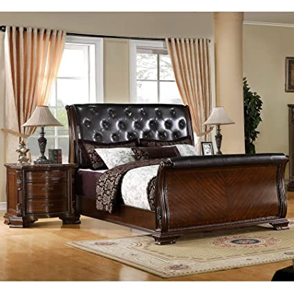 Genial Furniture Of America Luxury Brown Cherry Leatherette Baroque Style Sleigh  Bed With Nightstand Bedroom Set Cherry