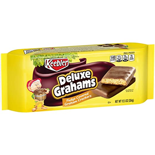 Keebler Cookies, Deluxe Grahams, Fudge Covered Graham Crackers, 12.5 oz Tray